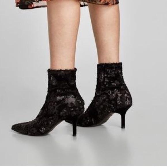 Zara Black Sequin Sock Booties Size 5